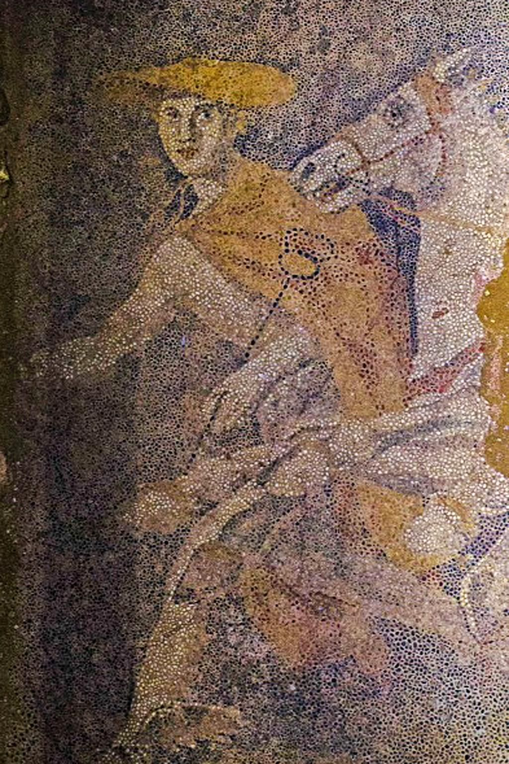 Hermes, the god of thieves, travellers, trade and a guide to the underworld, is depicted in the mosaic