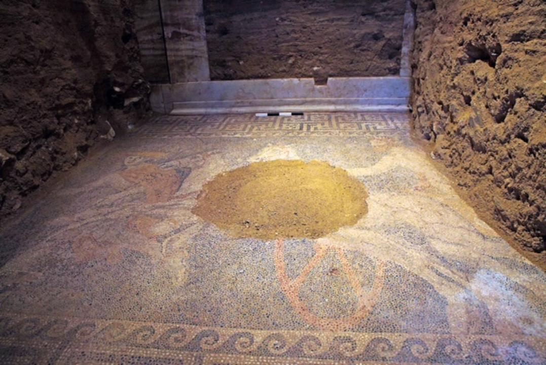The marble threshold to the third chamber has now been uncovered