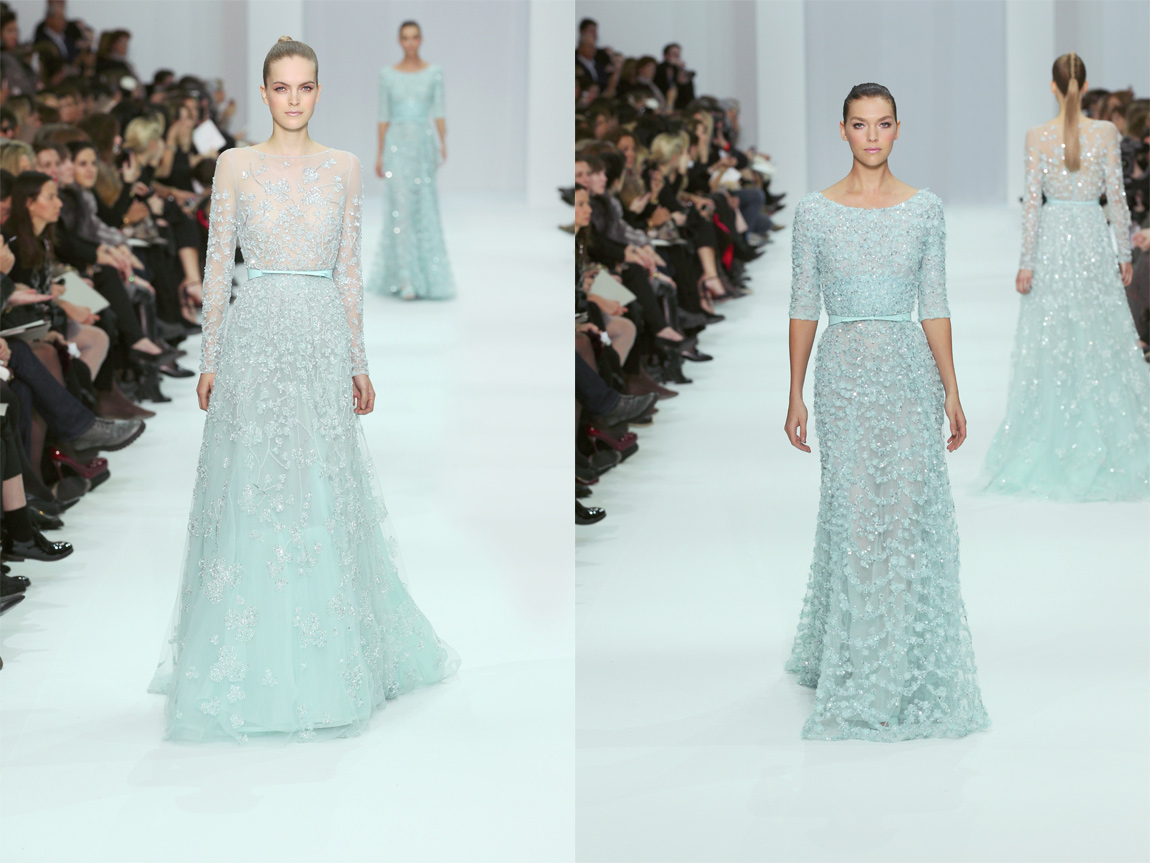 Ice blue wedding dresses from Elie Saab's Spring Summer 2012 collection, which are still available on request