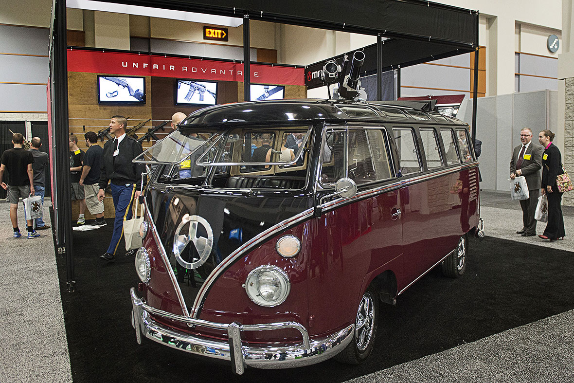 vw bus machine gun