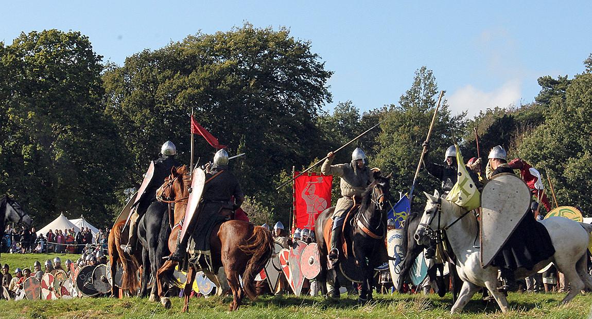 Norman knights attack the Anglo-Saxons' shield wall