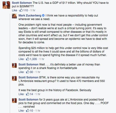 Zuckerberg Ebola Comment