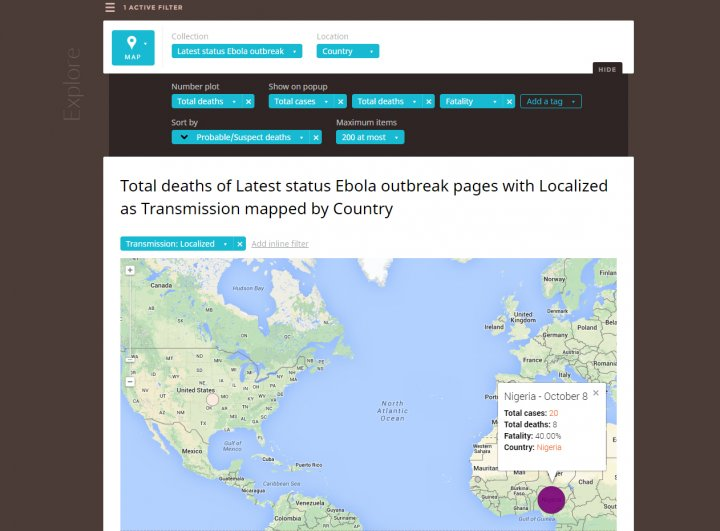 Silk's Ebola Outbreak database, which lets you search for and display statistics on cases immediately