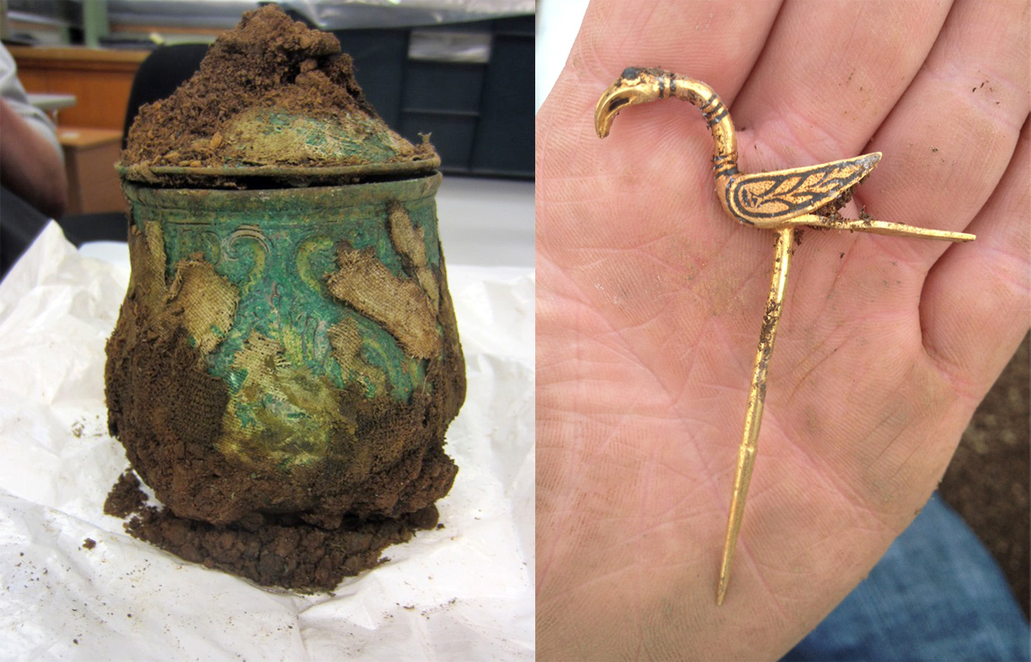 Viking treasure hoard: A silver alloy Carolingian vessel filled with objects and a gold bird hair decoration
