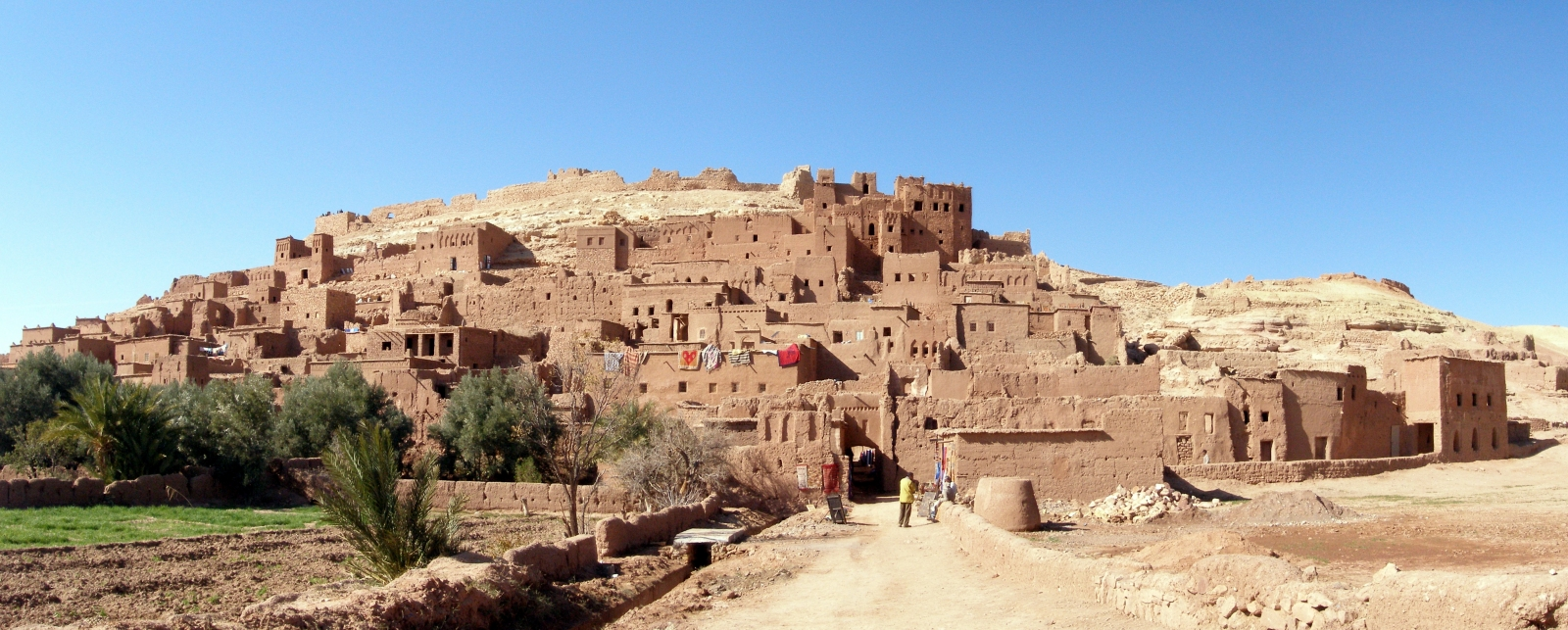 Aït Benhaddou in Morocco, where all the buildings are built from clay mixed with tamarind fibre