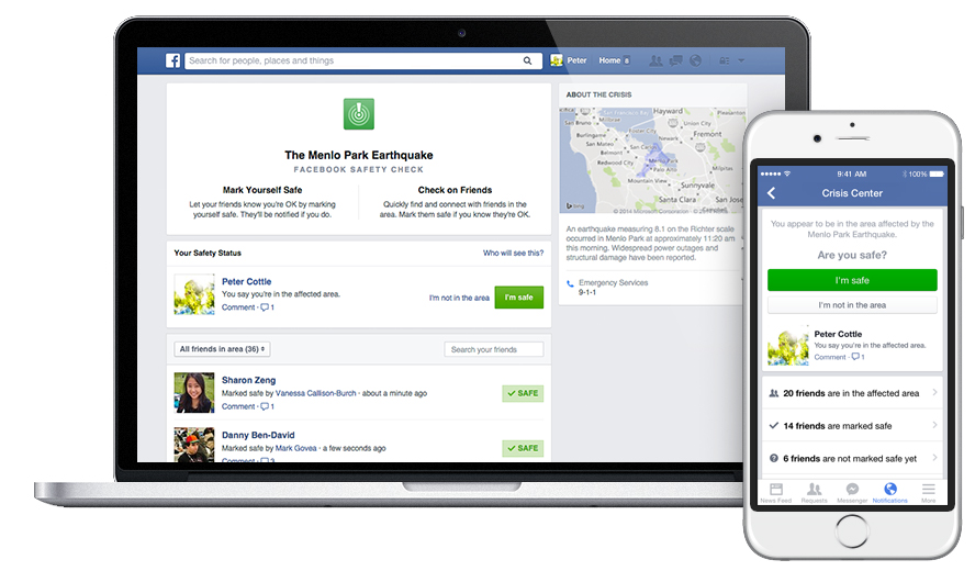 Facebook Safety Check feature for major disaster crisis communication
