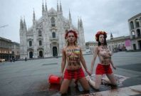 Femen protest in Milan