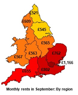 Average rent in the UK by region - LSL