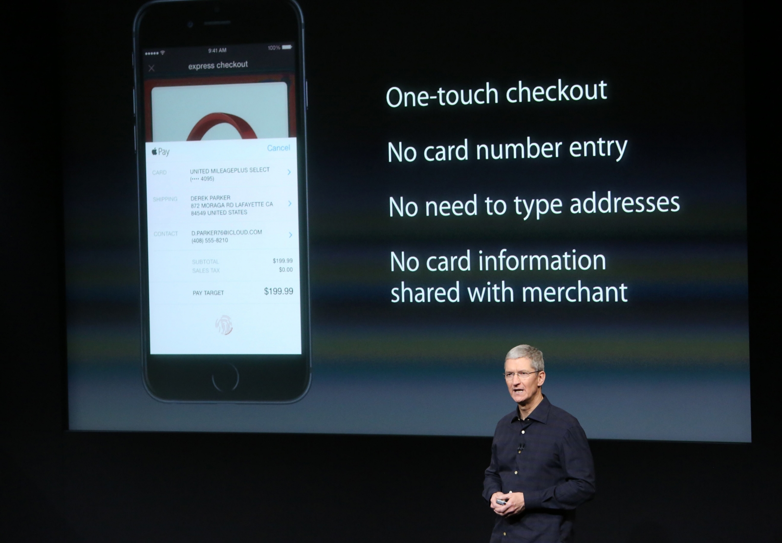 Apple CEO Tim Cook speaks about the Apple Pay service during a presentation at Apple headquarters in Cupertino, California October 16, 2014