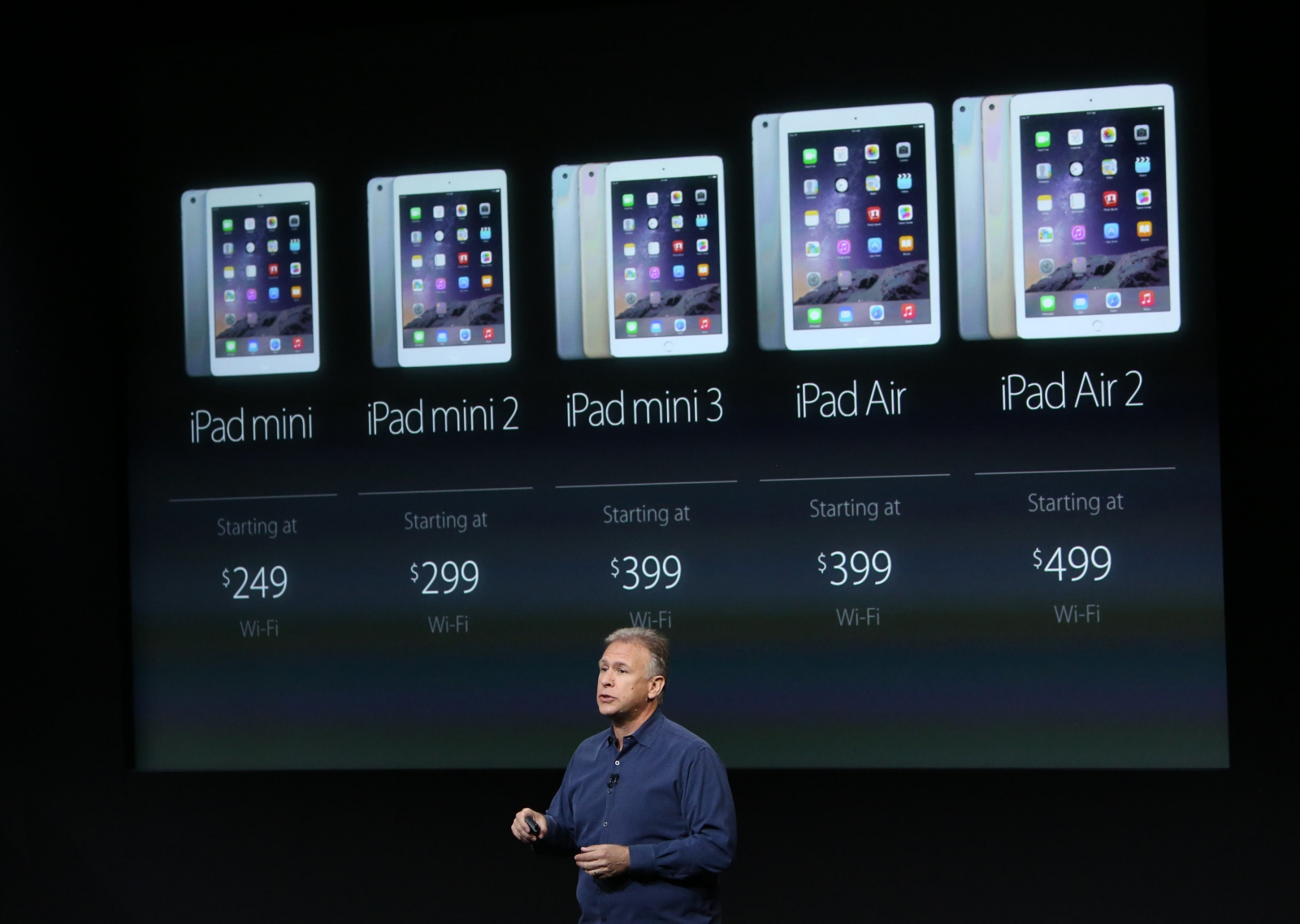 Phil Schiller, Apple's Senior Vice President of Worldwide Product Marketing speaks during a presentation of the new iPad at Apple headquarters in Cupertino, California October 16, 2014