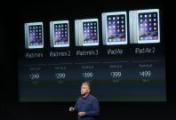 Phil Schiller, Apple\'s Senior Vice President of Worldwide Product Marketing speaks during a presentation of the new iPad at Apple headquarters in Cupertino, California October 16, 2014
