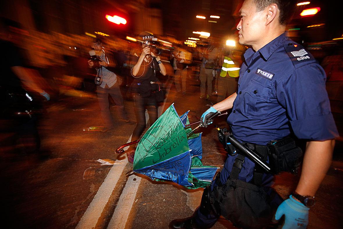 Hong Kong democracy protests police officer