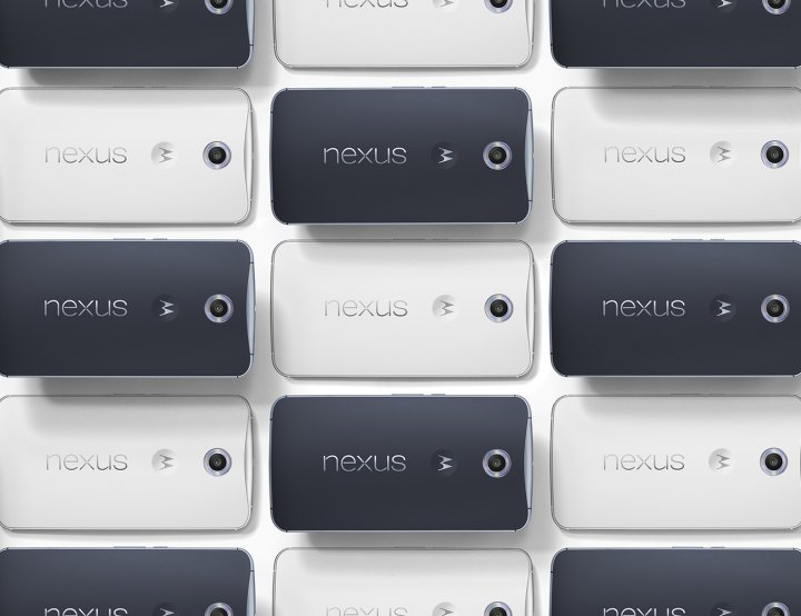 Nexus 6 phones arranged in a grid