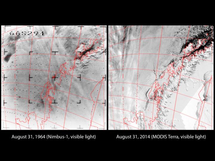 The Antarctic Peninsula in 1964 and 2014