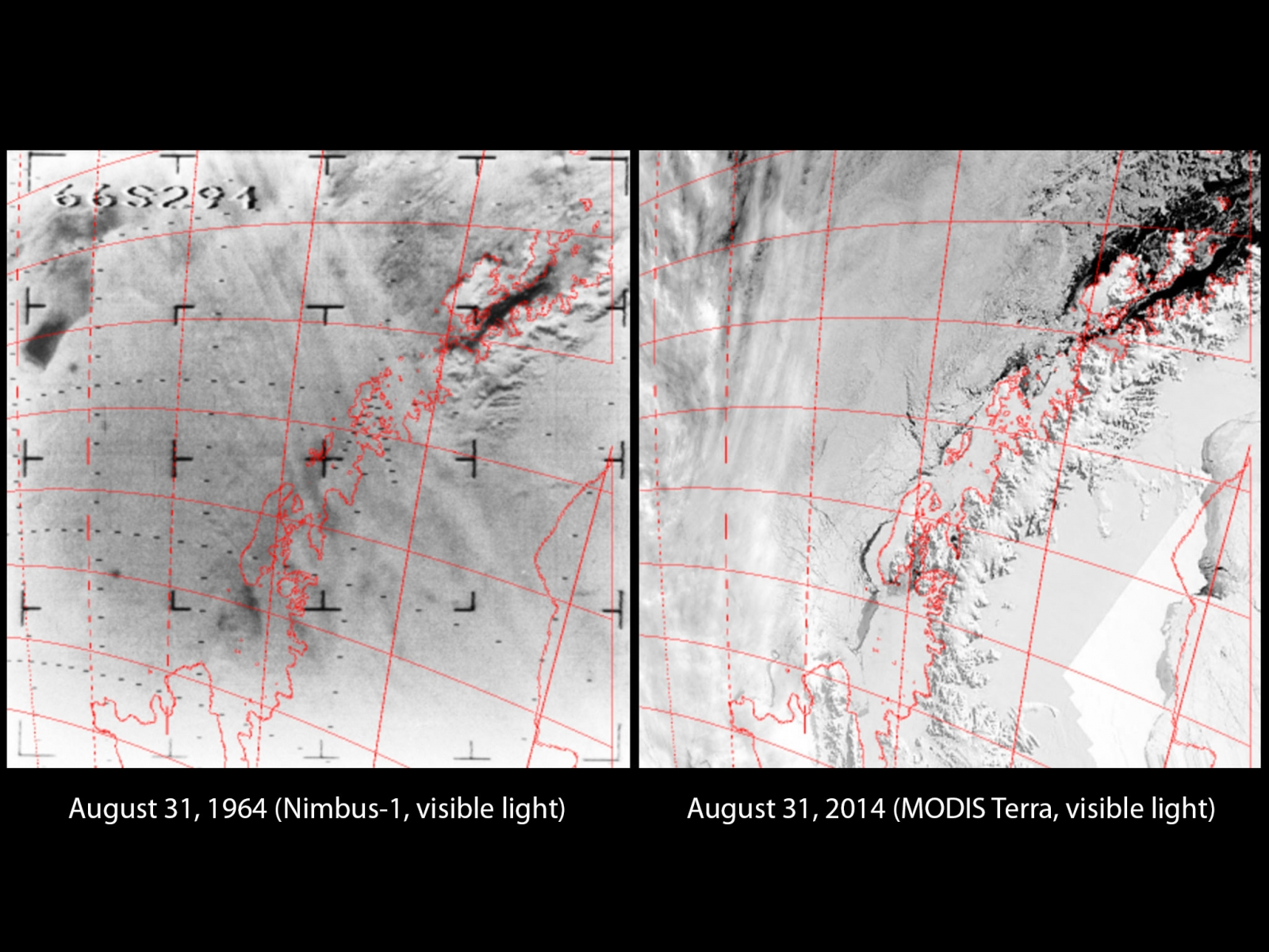 The Antarctic Peninsula in 1964 and 2014