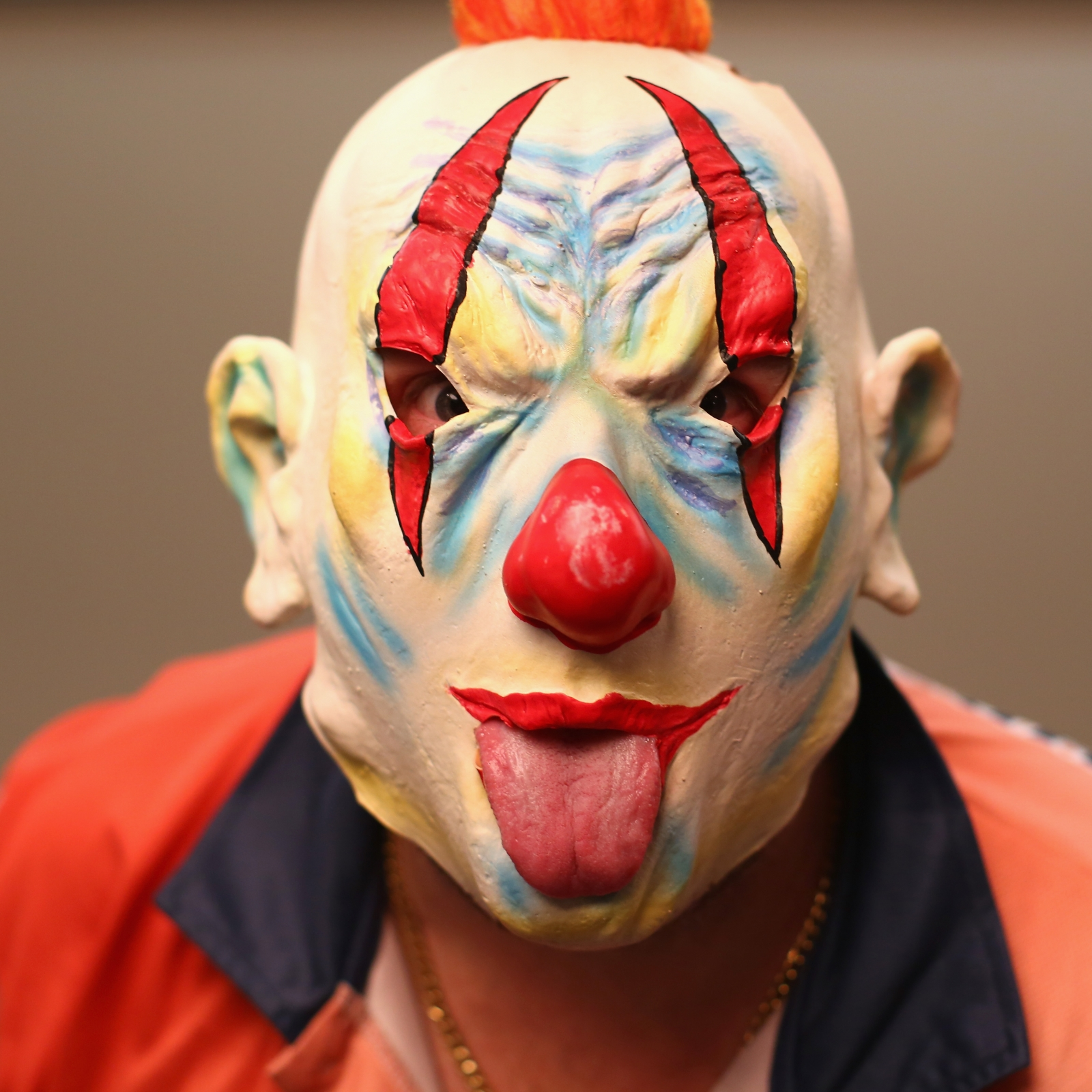 Evil clown mask. (Getty)