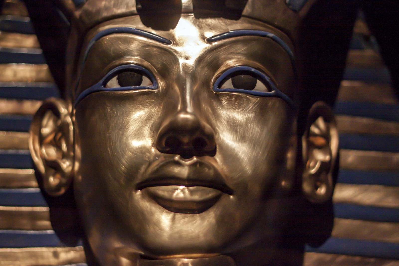 The gold mask of King Tutankhamun, who died at 19 years of age.