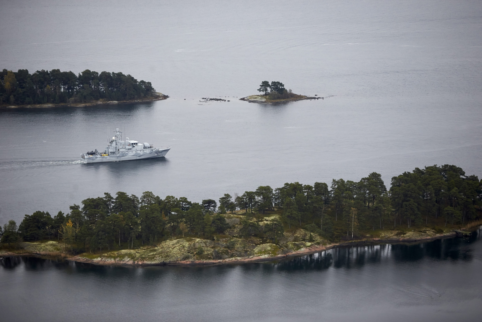 Swedish minesweeper HMS Koster patrols the waters of the Stockholm archipelago