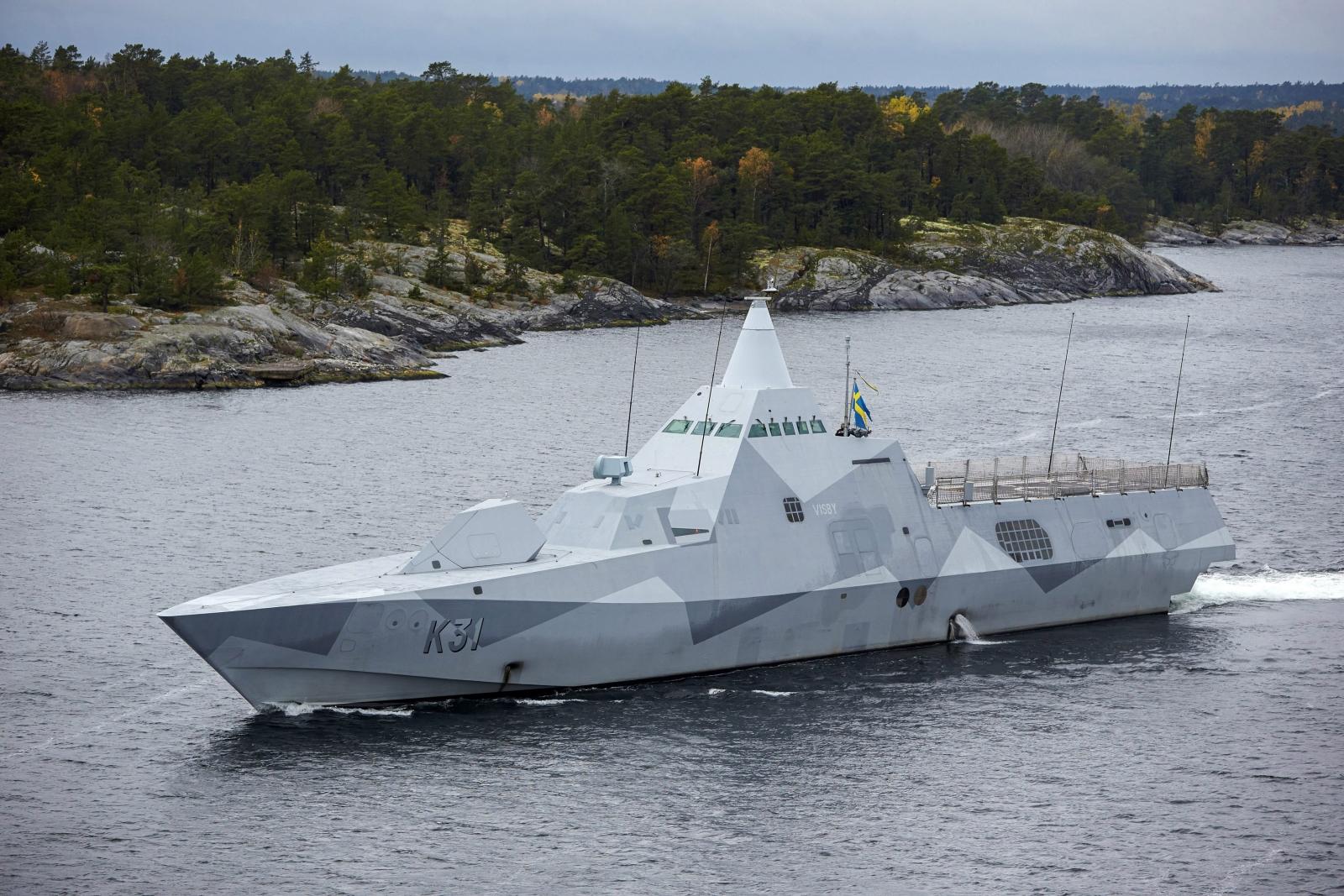 Swedish corvette HMS Visby patrols the Stockholm Archipelago