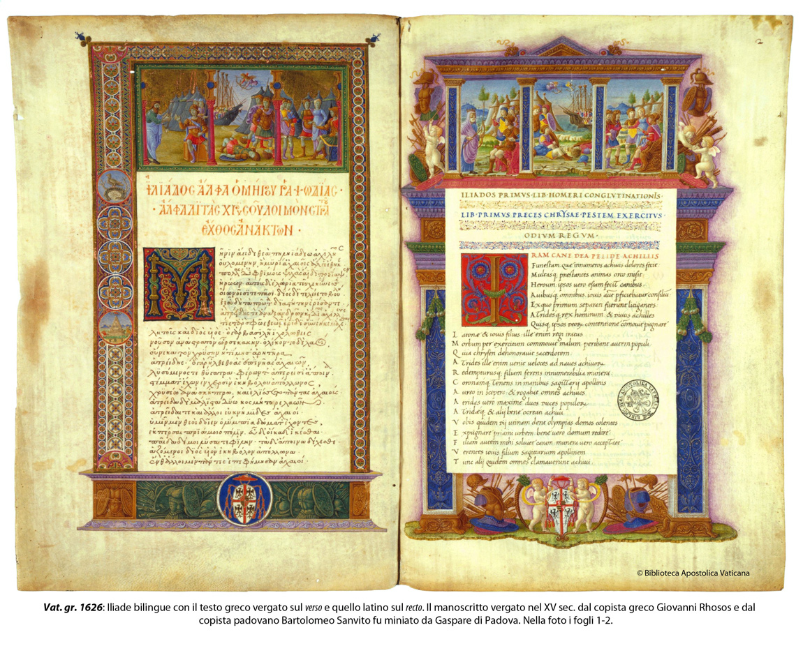 Bilingual version of the Iliad, with Greek text and Latin translation, double facing page