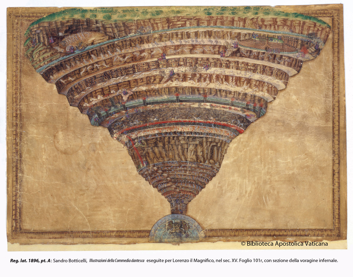 Illustrations of The Divine Comedy by Sandro Botticelli for Lorenzo the Magnificent, in XV century