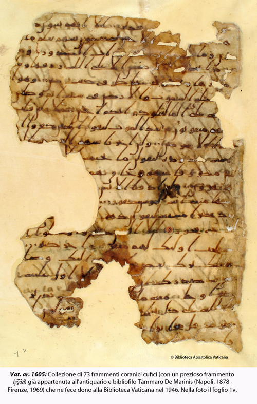 Collection of 73 fragments of the Koran Kufic (with a precious fragment ḥiǧāzī) that belonged to belonged to the antiquarian and bibliophile Tàmmaro De Marinis