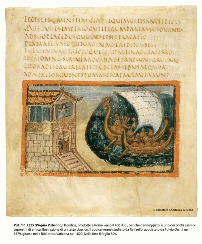Vatican Virgil produced in Rome around 400 AD, one of the few surviving examples of ancient illustration of a classic text.