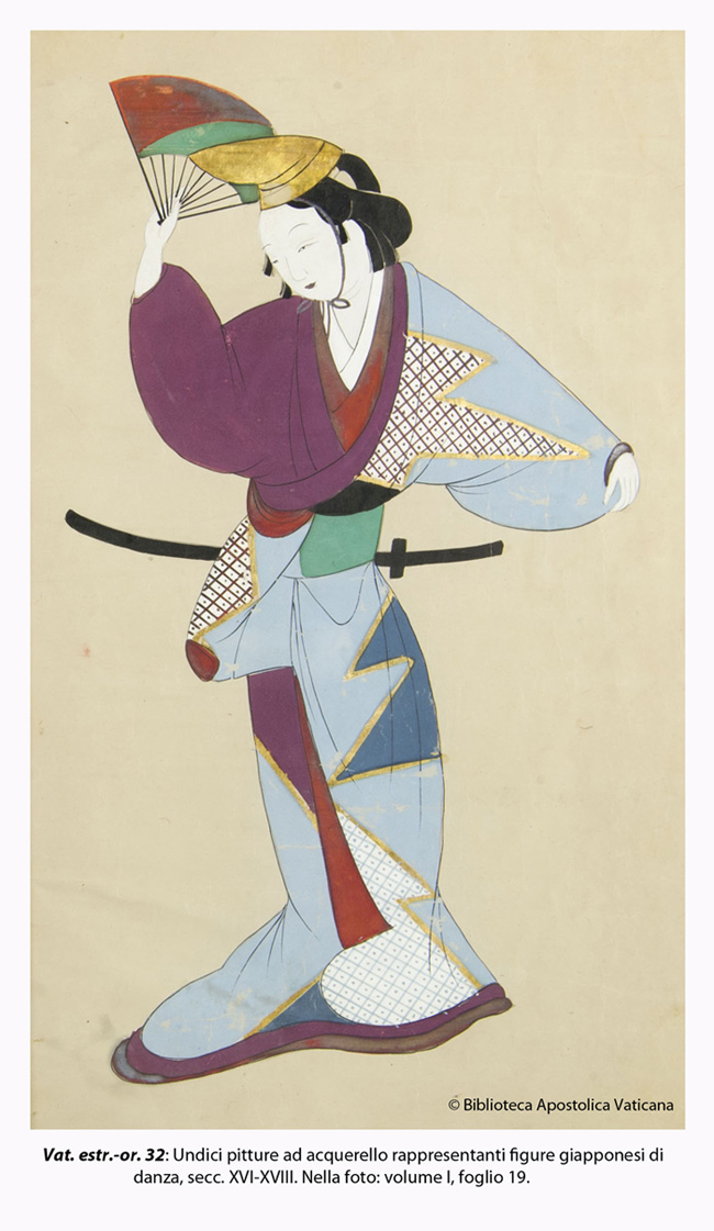 A Japanese dance painting, one of 11 watercolor paints representing figures of Japanese dance, centuries XVI - XVIII