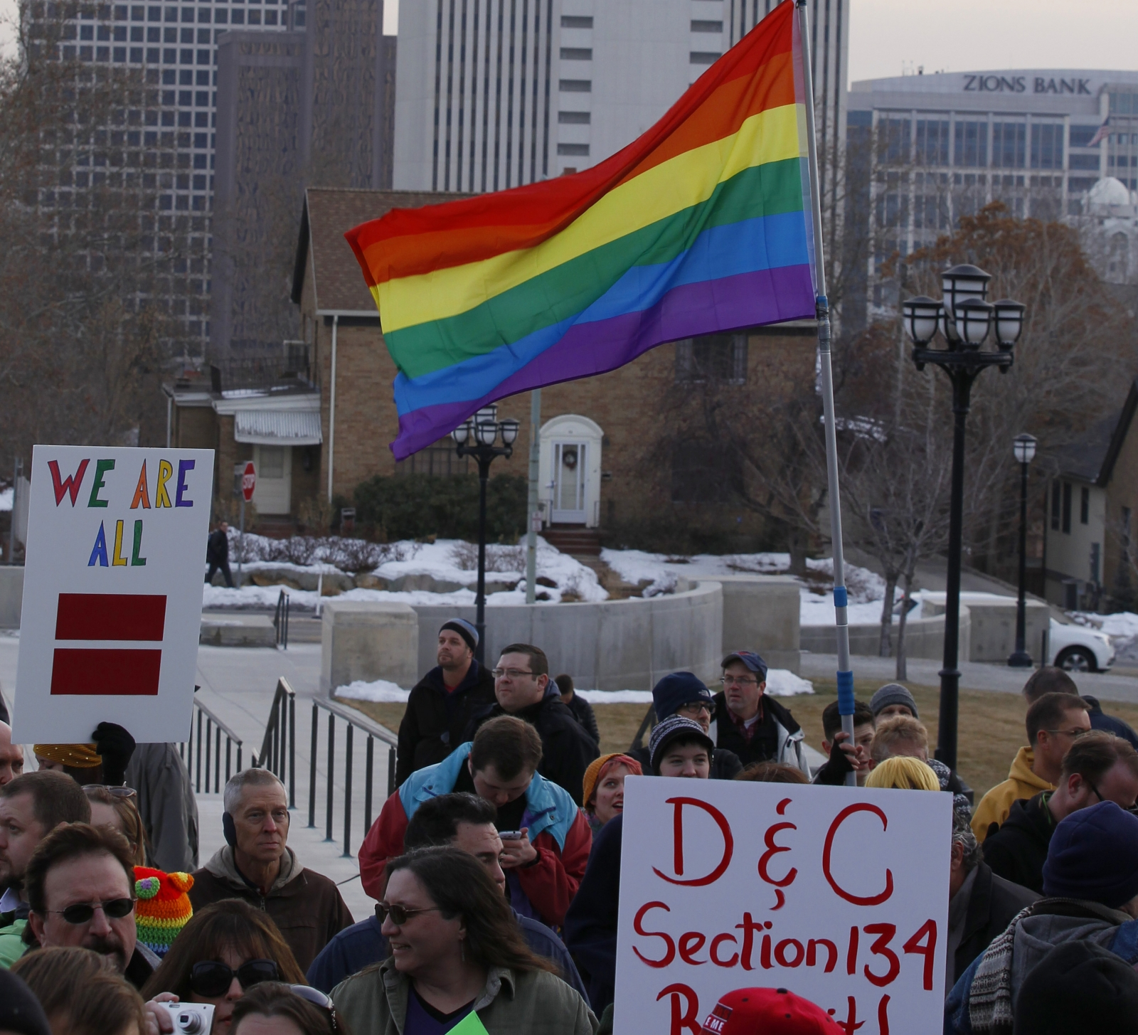 Several hundred people hold a pro-gay marriage rally outside the Utah State Capitol on 28 January 2014 in Salt Lake City, Utah.