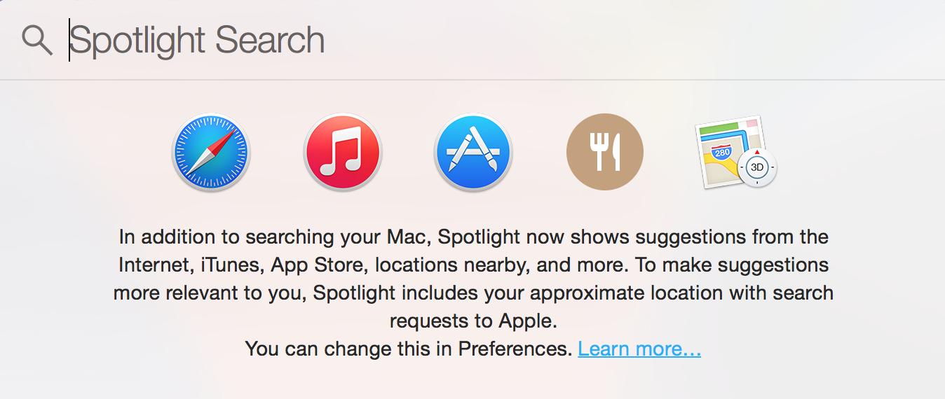 Mac OS X Yosemite Spotlight Search Collecting Location Data