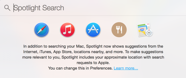 Mac OS X Yosemite Spotlight Search Collecting Location Data