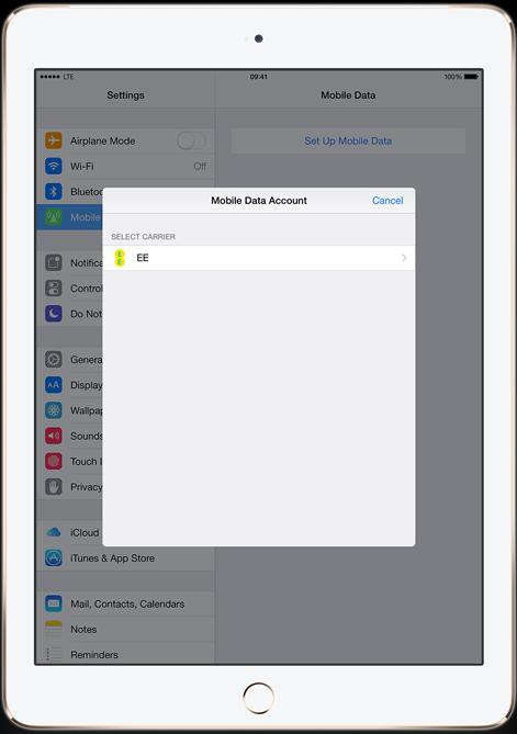iPad Air 2 carrier select