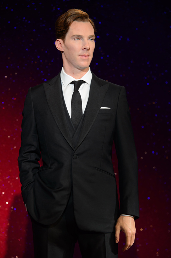 Benedict Cumberbatch is attired in a suit similar to the one he wore to Oscars 2014, tailored by Spencer Hart