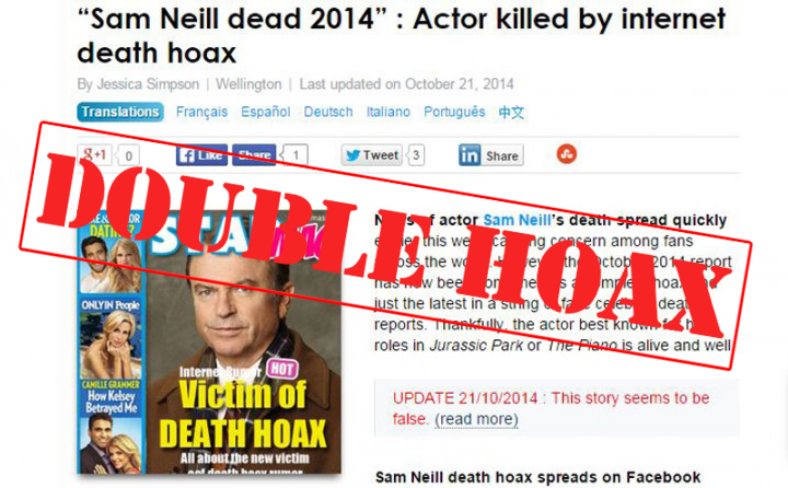 Media Mass Sam Neill Hoax