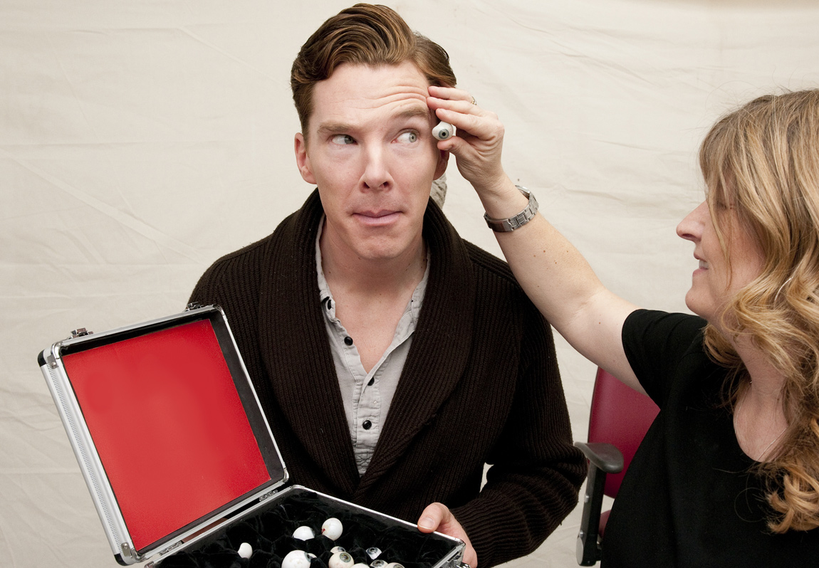 A Madame Tussauds artist compares a range of life-like eyeballs in order to find the perfect match