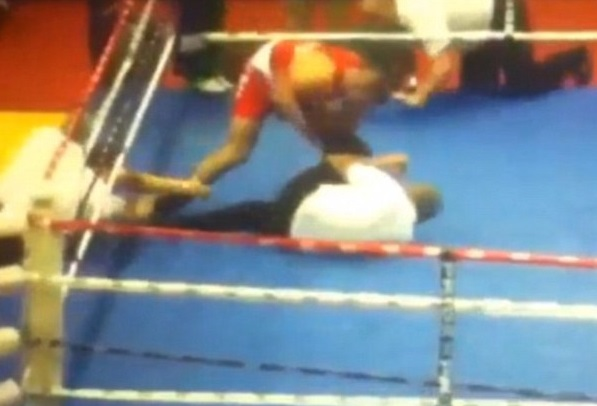 Sore loser, sore referee: Vido Loncar rains down blows after tasting defeat at European Youth Boxing Championships in Croatia