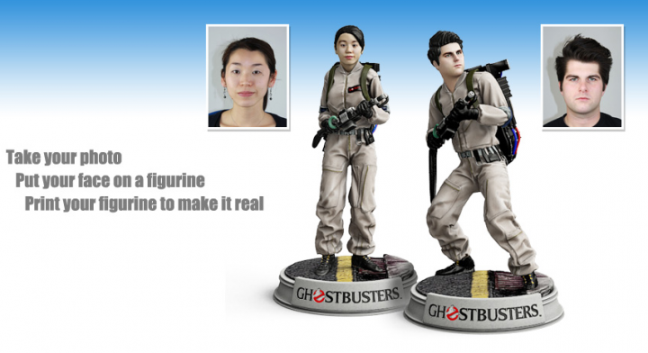 Examples of how the 3D-printed Ghostbuster figures turn out