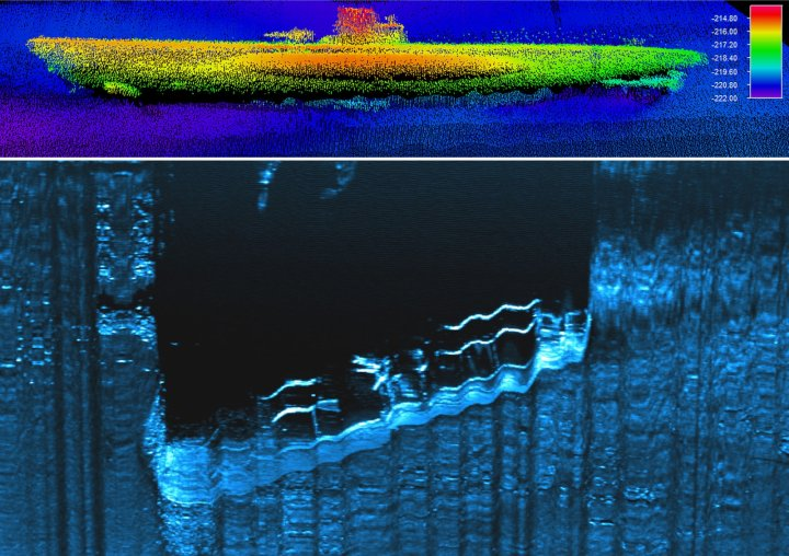 Sonar images of U-576 submarine and freighter Bluefields on the sea bed
