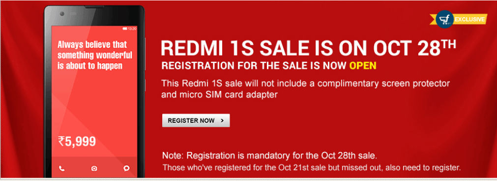 Xiaomi's 28 October Flash Sale Apparently Faces 'Increased Demand': Register Yourself Now to Participate in Flash Sale, and Purchase Redmi 1S 'Affordable Smartphone