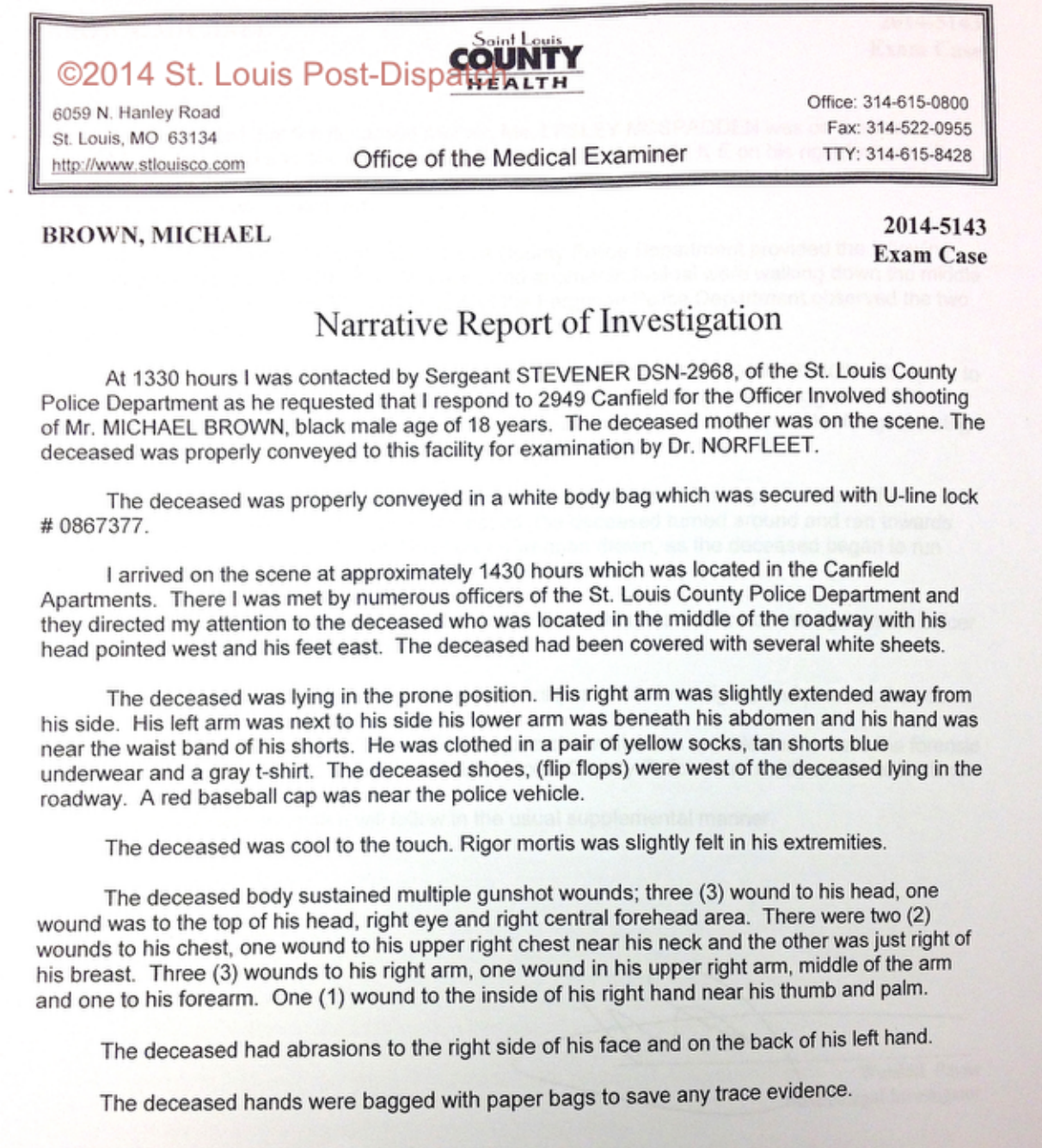 Mike Brown Autopsy Report Leaked