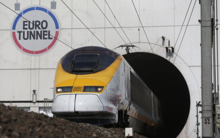 A high-speed Eurostar train exits the Channel tunnel in Coquelles, near Calais, May 5, 2014.