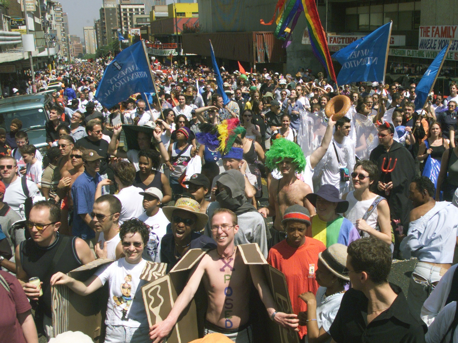 Bisexuals, gays lesbians and other allies of diversity march through the streets of downtown Johannesburg on 25 September, 1999