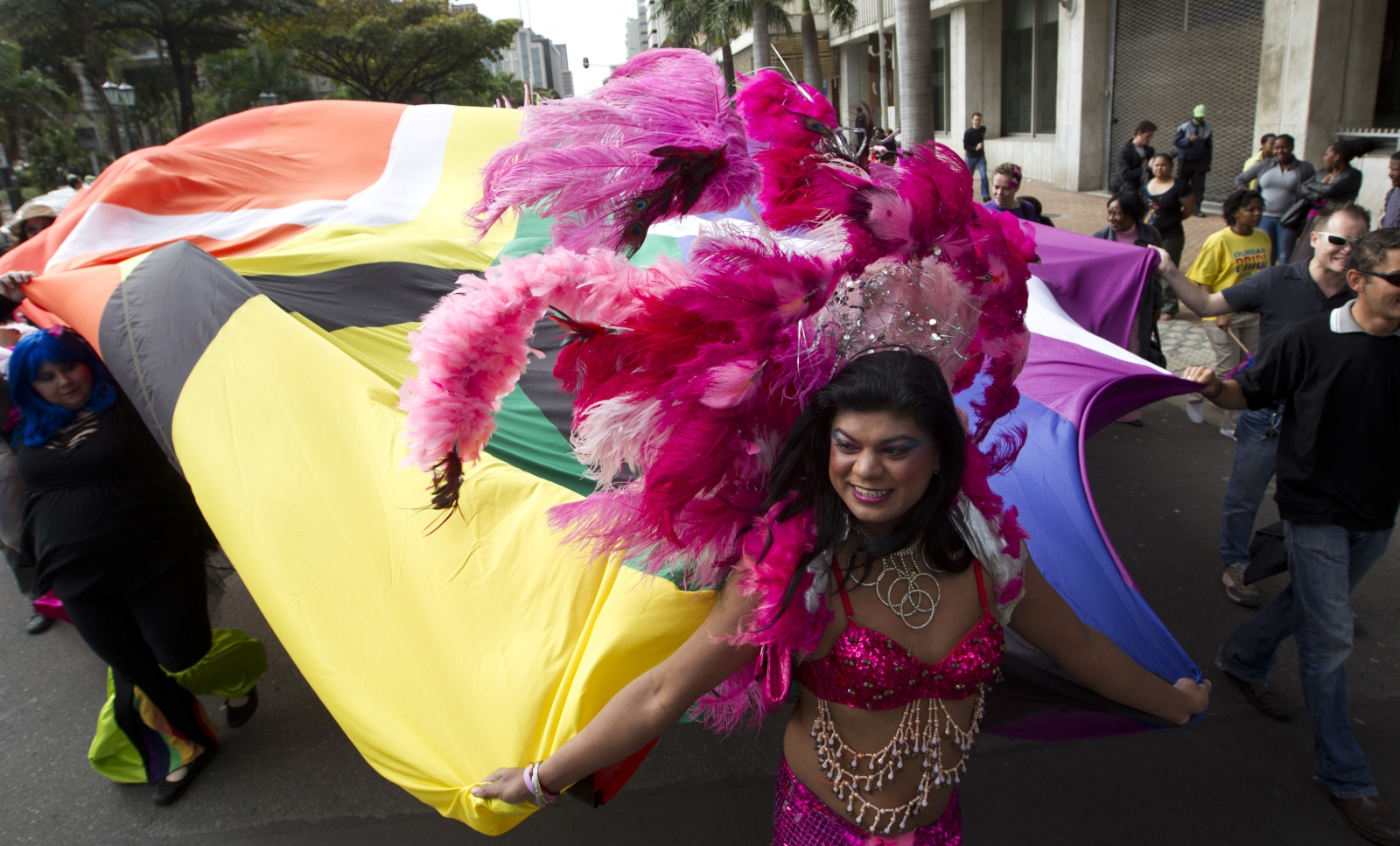 A drag queen participates in Durban Pride where several hundred people marched through the Durban city centre in support of gay rights, July 30, 2011