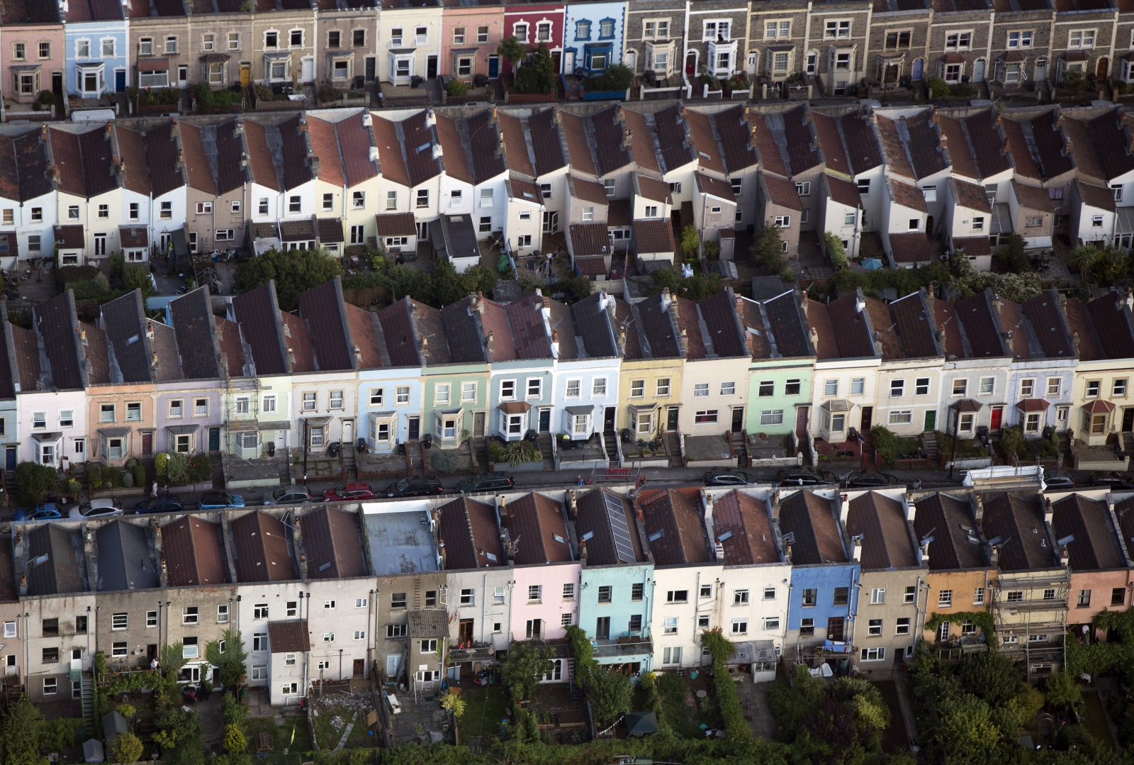 Houses are seen from the air in Bristol, southern England August 7, 2014