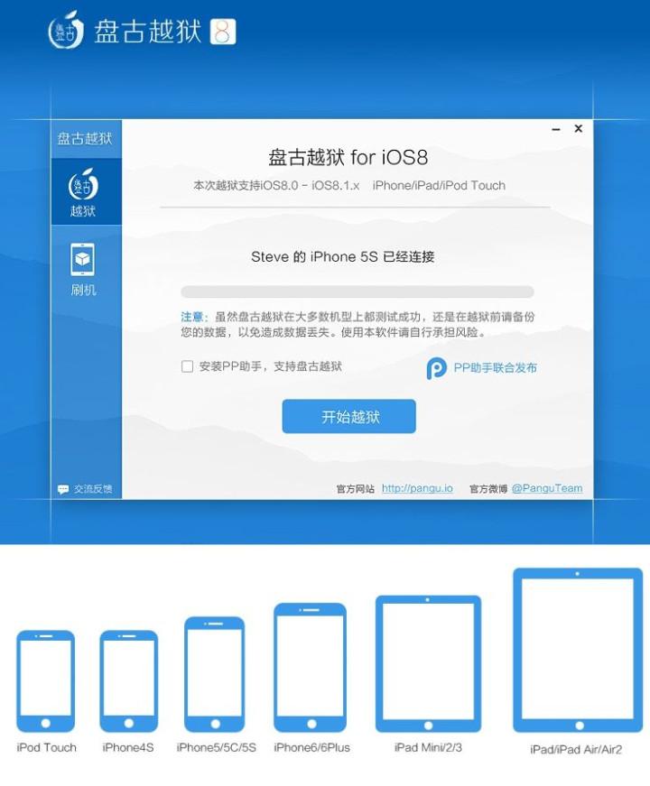 iOS 8-iOS 8.1 Untethered Jailbreak