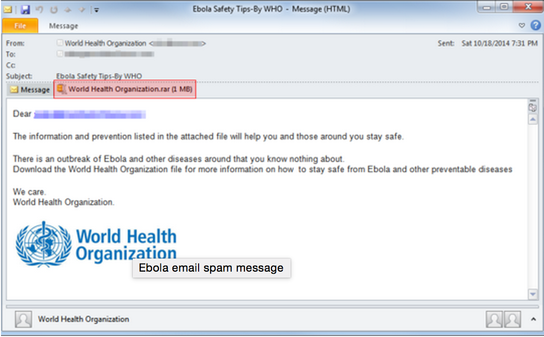 Spam Email About Ebola Claiming to Come from World Health Organisation