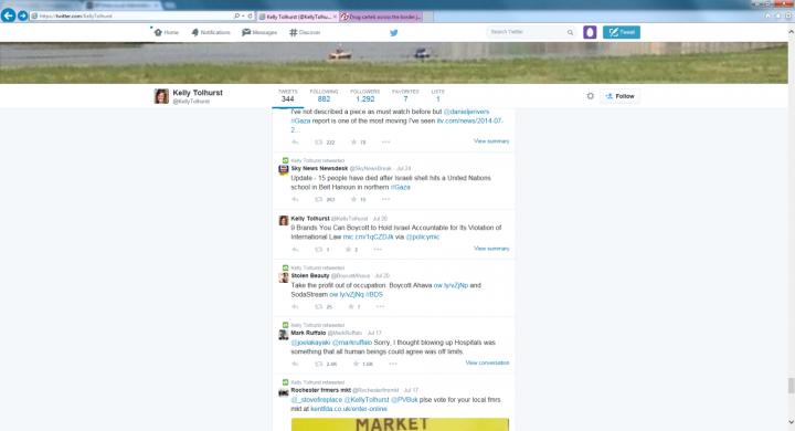 Anti-Israel Tweets on Kelly Tolhurst's Twitter account (Twitter)