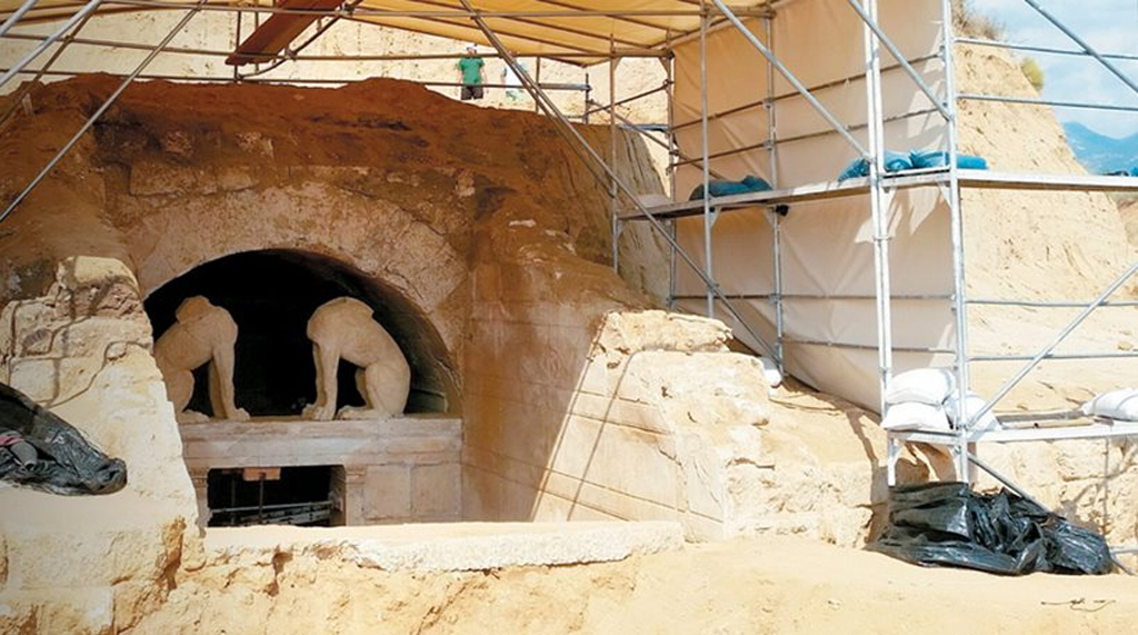 The two headless sphinxes guarding the entrance to the Amphipolis Tomb on Kasta Hill in Serres