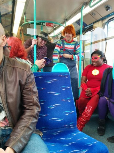 London ComicCon Cosplayers on the tube