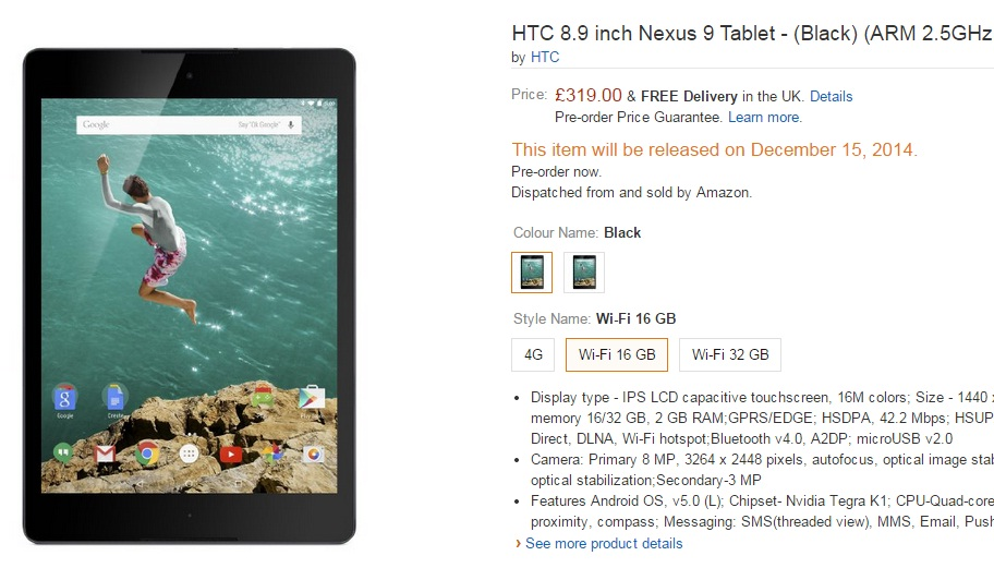 Google Nexus 9 Shipping Delayed Until 15 December on Amazon